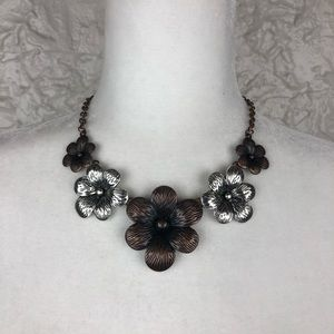 Copper and sliver flower necklace earring set